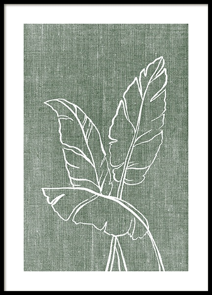 Green Linen Leaves Poster in the group Prints / Botanical / Green plants at Desenio AB (14264)