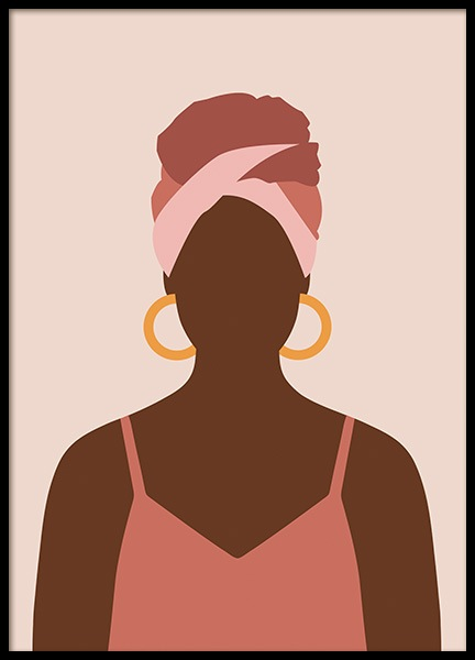 Woman With Hoop Earrings Poster in the group Prints / Illustrations at Desenio AB (14287)