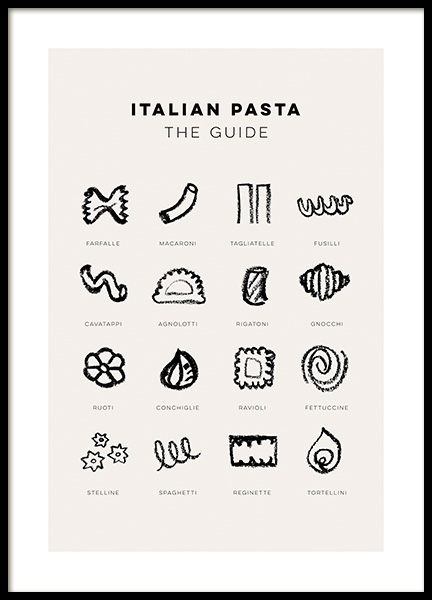 Pasta Guide Poster in the group Prints / Kitchen / Kitchen guides at Desenio AB (14451)