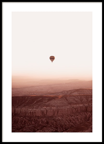 Hot Air Balloon Over Mountains Poster in the group Prints / Nature prints at Desenio AB (14534)