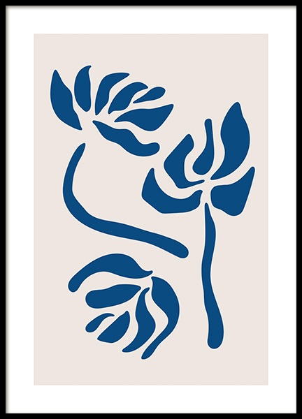 Blue Graphic Flowers Poster in the group Prints / Graphical at Desenio AB (14551)