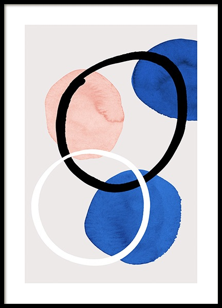 True Blue Shapes No2 Poster in the group Prints / Art prints / Watercolour paintings at Desenio AB (14594)