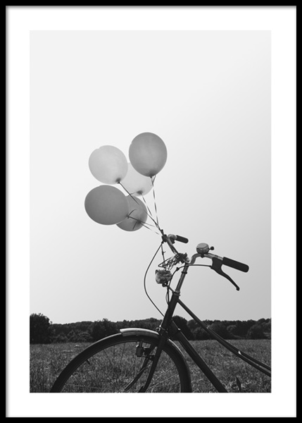 Balloon Bike Poster in the group Prints / Black & white at Desenio AB (14681)
