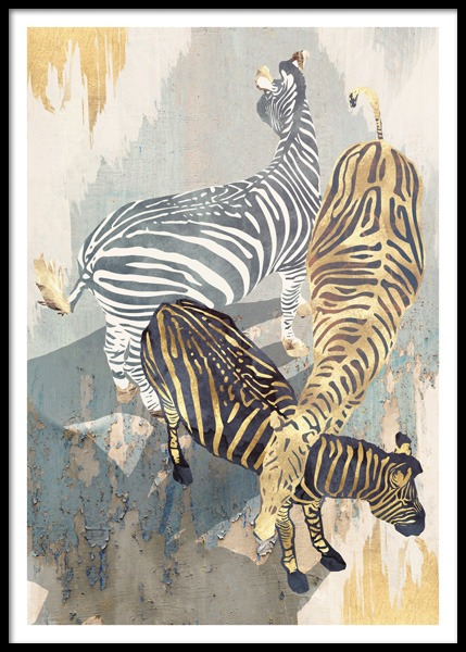 Metallic Zebras Poster in the group Prints / Illustrations at Desenio AB (14736)