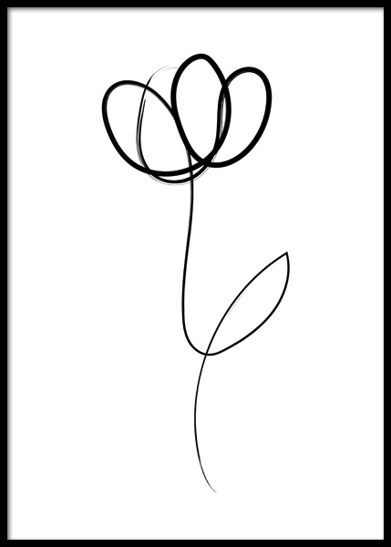 Line Art Flower Poster in the group Prints / Art prints / Line Art at Desenio AB (14758)