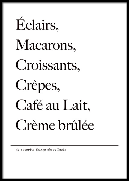 Favorite Things About Paris Poster in the group Prints / Text posters at Desenio AB (14777)