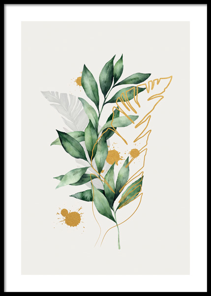 Golden Aquarelle Leaves No1 Poster in the group Prints / Botanical at Desenio AB (14785)