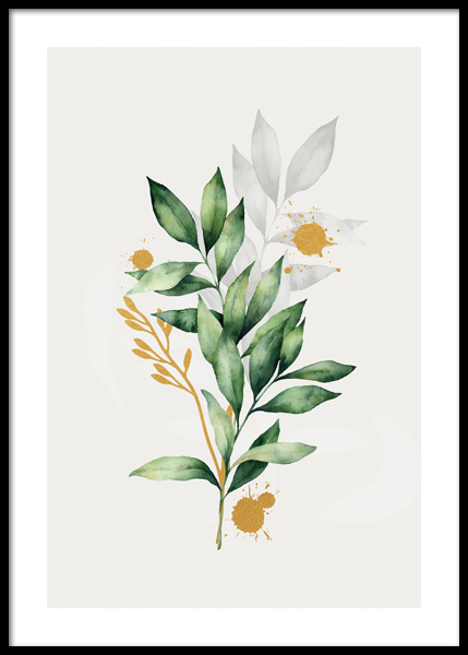 Golden Aquarelle Leaves No2 Poster in the group Prints / Botanical at Desenio AB (14786)