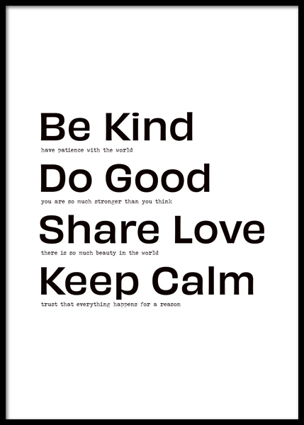 Be Kind Do Good Poster in the group Prints / Text posters / Motivational at Desenio AB (14845)