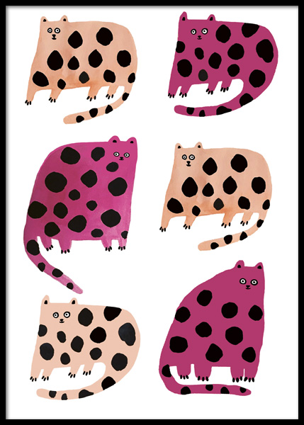 Colourful Cats Poster in the group Prints / Kids wall art / Animal illustrations at Desenio AB (14877)