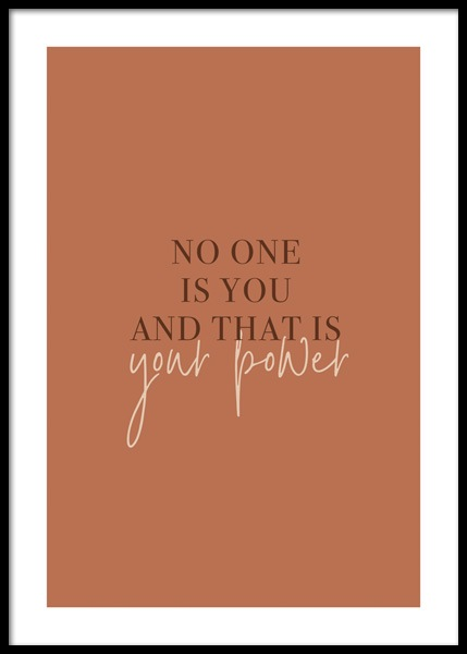 No One Is You Poster in the group Prints / Text posters at Desenio AB (14902)
