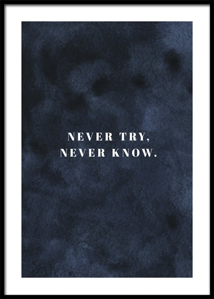 Never Try Never Know Poster in the group Prints / Text posters / Motivational at Desenio AB (14940)