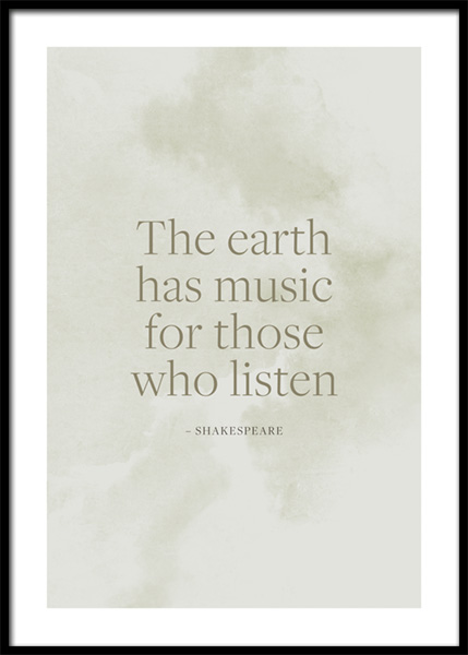 The Earth Has Music Poster in the group Prints / Text posters / Quote prints at Desenio AB (14949)