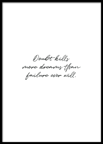 Doubt Kills Poster in the group Prints / Text posters / Motivational at Desenio AB (14951)