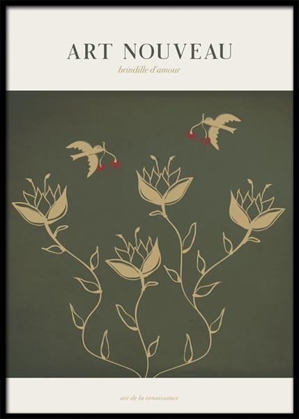 Art Nouveau Love Birds Poster