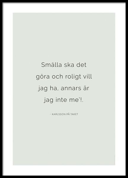 Karlsson på taket Citat Poster
