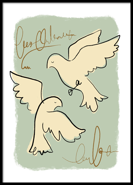 Pastel Birds Poster