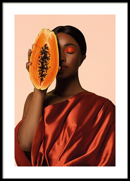 Papaya Face Poster