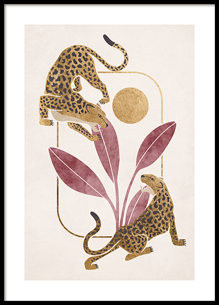 Crouching Leopards Poster