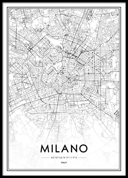 Milano Map Poster in the group Prints / Maps & cities at Desenio AB (2047)