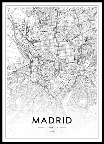 Madrid Map Poster in the group Prints / Black & white at Desenio AB (2050)