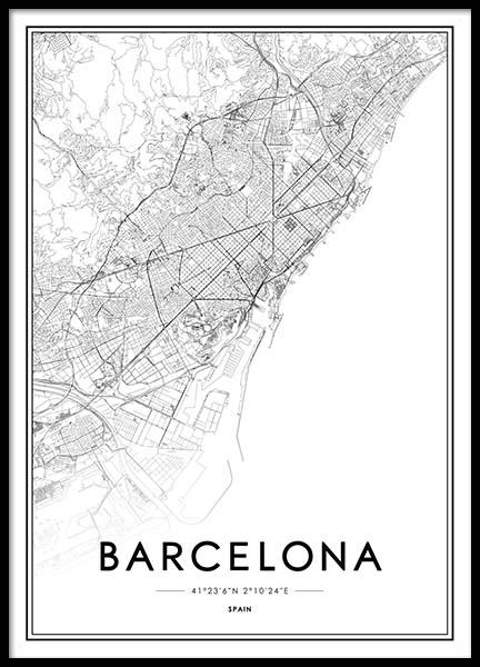 Barcelona Poster in the group Prints / Maps & cities at Desenio AB (2051)