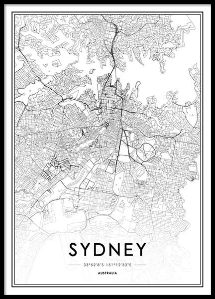 Sydney Poster in the group Prints / Maps & cities at Desenio AB (2055)