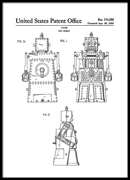 Toy Robot Patent Poster in the group Prints / Sizes / 50x70cm | 20x28 at Desenio AB (2129)