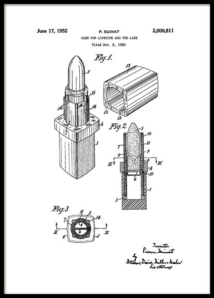 Vintage Lipstick Patent Poster in the group Prints / Illustrations at Desenio AB (2132)