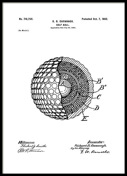 Golf Ball Patent Poster in the group Prints / Sizes / 50x70cm | 20x28 at Desenio AB (2134)
