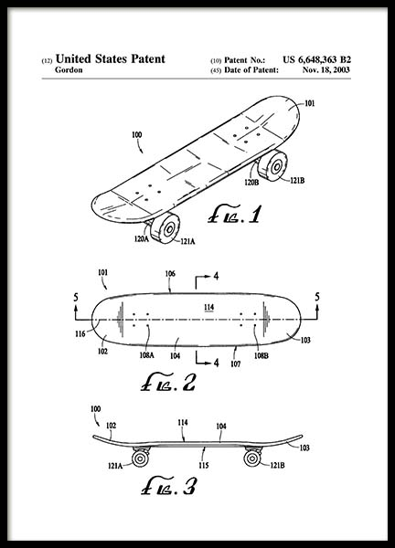 Skateboard Patent Poster in the group Prints / Illustrations at Desenio AB (2136)