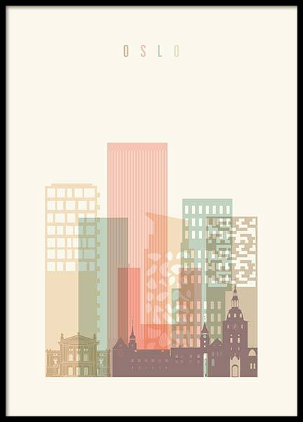 Oslo Skyline Poster in the group Prints / Maps & cities at Desenio AB (2140)