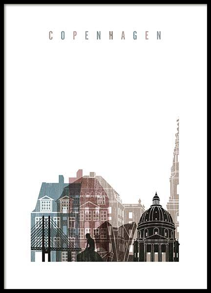 Copenhagen Skyline Poster in the group Prints / Graphical at Desenio AB (2141)