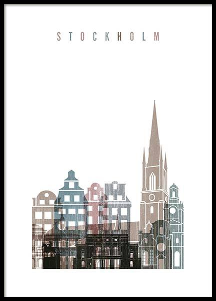 Stockholm Skyline Poster in the group Prints / Handpicked / Art Prints Vicky at Desenio AB (2142)