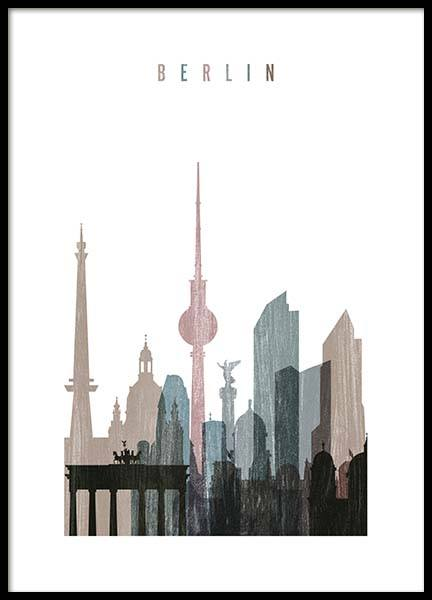 Berlin Skyline Poster in the group Prints / Maps & cities at Desenio AB (2143)