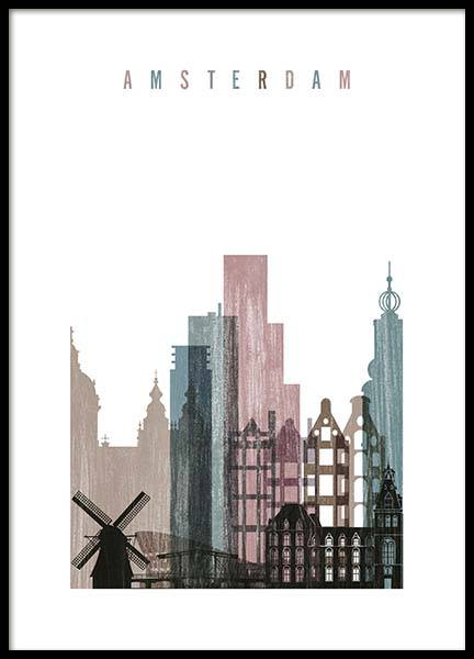 Amsterdam Skyline Poster in the group Prints / Maps & cities at Desenio AB (2144)