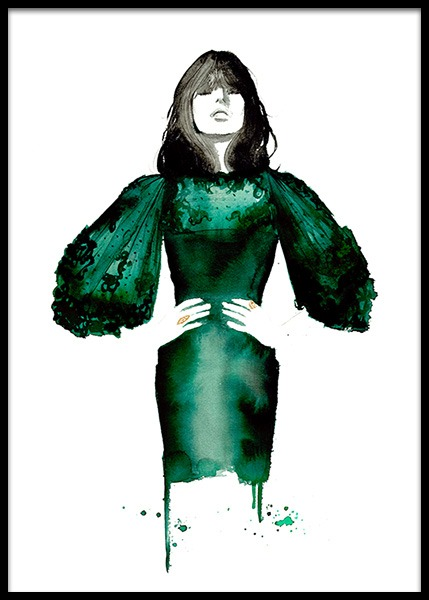 The Emerald Dress Poster in the group Prints / Illustrations at Desenio AB (2145)