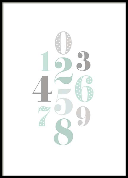 Numbers Green  Poster in the group Prints / Kids posters at Desenio AB (2211)