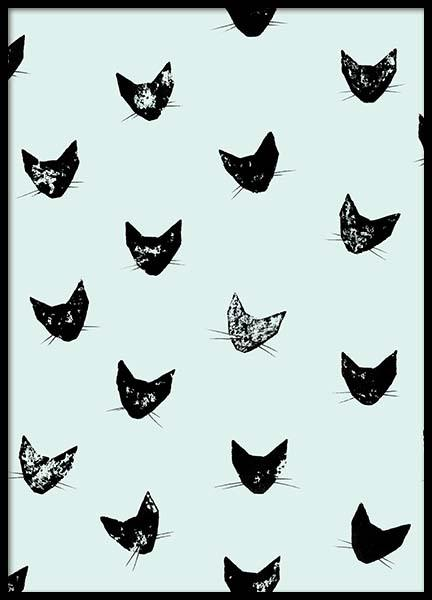 Cat Pattern Mint  Poster in the group Prints / Sizes /  at Desenio AB (2219)