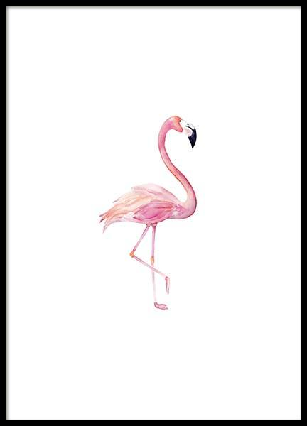 Flamingo Aquarelle  Poster in the group Prints / Sizes / 30x40cm | 12x16 at Desenio AB (2222)