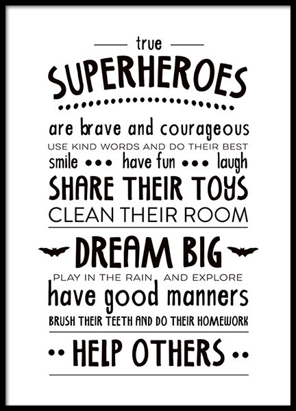Rules Of A Superhero  Poster in the group Prints / Kids wall art / Kids' posters at Desenio AB (2263)