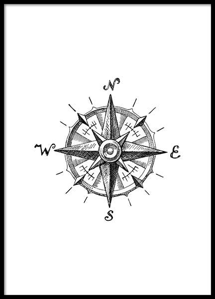 Compass Poster in the group Prints / Black & white at Desenio AB (2305)