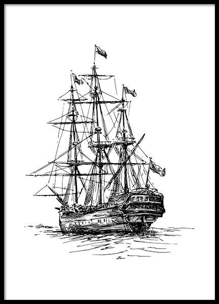 Illustrated Ship Poster in the group Prints / Nautical at Desenio AB (2306)
