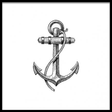 Anchor B&W Poster in the group Prints / Nautical at Desenio AB (2309)