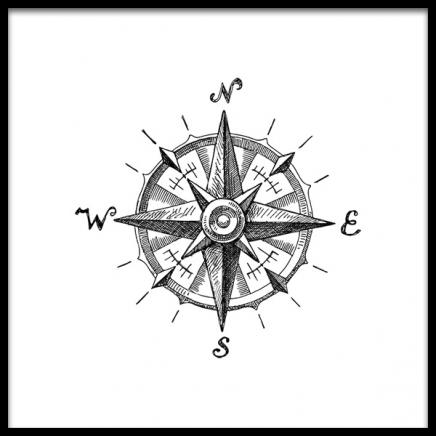 Compass B&W Poster in the group Prints / Nautical at Desenio AB (2311)