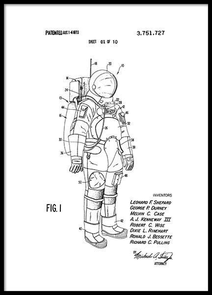 Space Suit Patent Poster in the group Prints / Vintage at Desenio AB (2343)