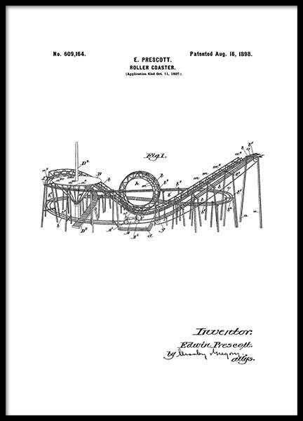 Roller Coaster Patent Poster in the group Prints / Vintage at Desenio AB (2346)