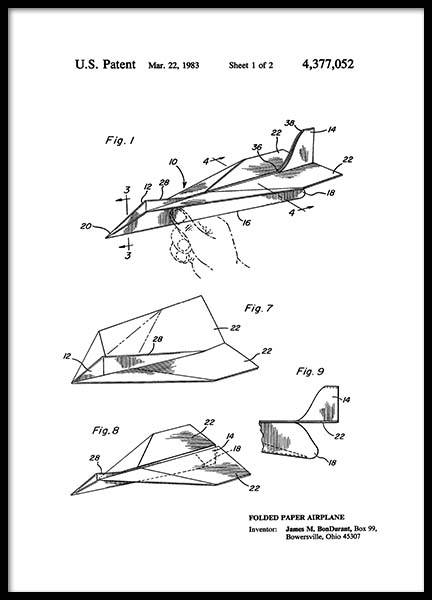 Paper Airplane Patent Poster in the group Prints / Vintage at Desenio AB (2347)