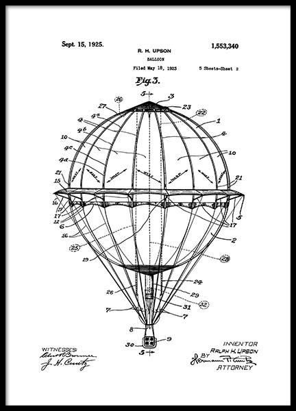Hot Air Balloon Patent Poster in the group Prints / Retro & vintage at Desenio AB (2348)
