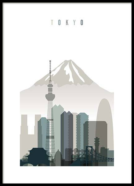 Tokyo Skyline Poster in the group Prints / Maps & cities at Desenio AB (2350)